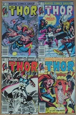 """1983. FOUR x """"The MIGHTY THOR"""" Marvel comics Vol.1 #s 332; 333; 334; & 335. Fine"""