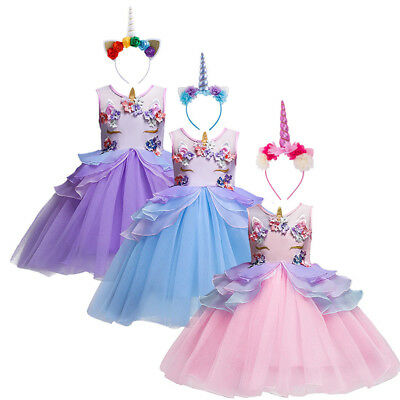 Girls Kid Flower Unicorn Costume Princess Dress Tulle Tutu Skirt Headband Outfit