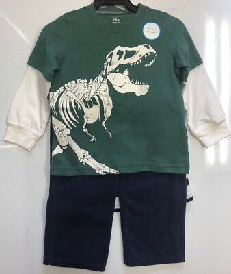 Carter's Boys 3 Piece Glow In the Dark T-Rex Sweater Set - 18m, 2T, 3T       S-7
