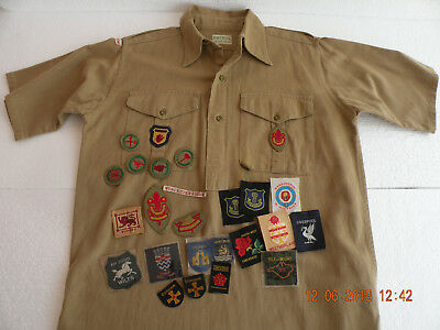 Boy Scouts UK Pre 1967 Shirt and Badges Lot Vintage