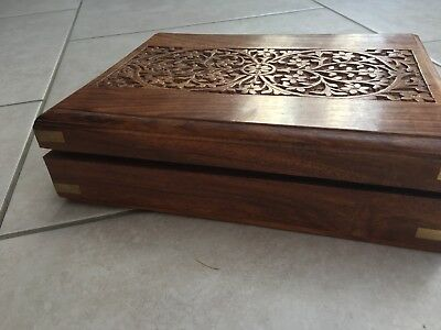 Wooden Box For Tea Caddy Or Sewing Box, Carved  Flowers