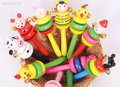 A007 Cute Wooden Animal Smiling Face Rattle Handbell for Baby kids Randomly