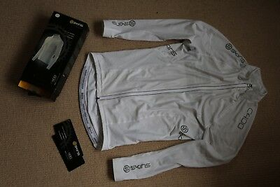 Skins C400 Compression Long Sleeve Cycling Jersey Mens White Size L