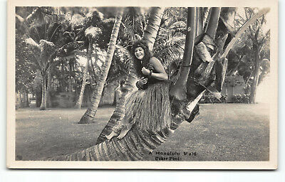 """Hawaii Maid"" at Waikiki Real Photo Postcard RPPC by Ray Jerome Baker Hula Girl"