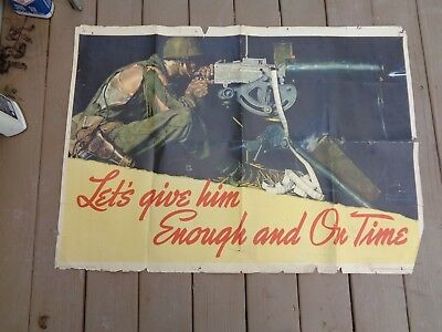 Vintage Wwii Poster Let's Give Him Enough And On Time Norman Rockwell