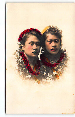 Hawaiian Hula Girls Real Photo Postcard RPPC Hand Tinted - Colored Hawaii