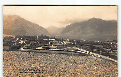 Small Town Wailuku Maui Hawaii Real Photo Postcard RPPC by Ray Jerome Baker