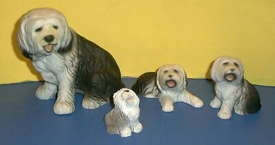 "Lot of 3 Vintage Old English Sheepdog Ceramic Figurines 6"", 3 1/2"", 2 1/2"" + 1"