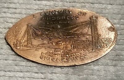 1933 Chicago Worlds Fair Sky Ride Elongated 1920-S Lincoln Cent Token