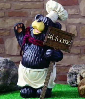 NEW CARVED LOOK Chef Black Bear Kitchen Greeter Welcome ...