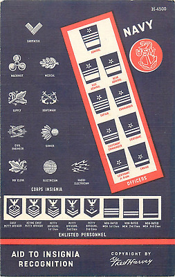 """Navy """"aid To Insignia Recognition""""  Fred Harvey 1942 Ww2 Linen Postcard"""