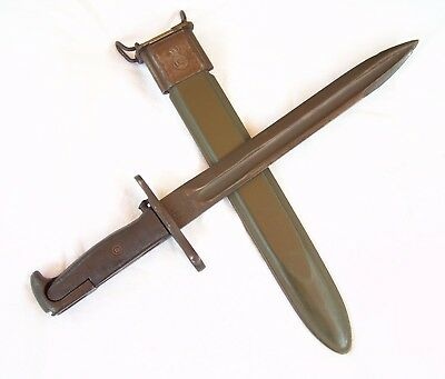 Orig. WW2 U.S. *U.F.H.* Dated 1943 Bayonet Fighting Knife w/ VP Scabbard- NICE!