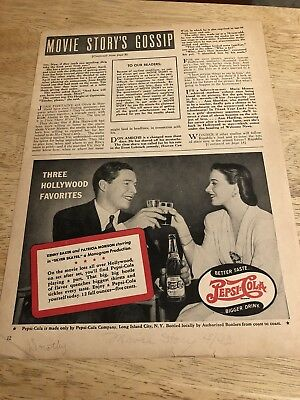 PEPSI-COLA / VERONICA LAKE for LUX SOAP - Vintage 1943 Magazine Ads 2-sided