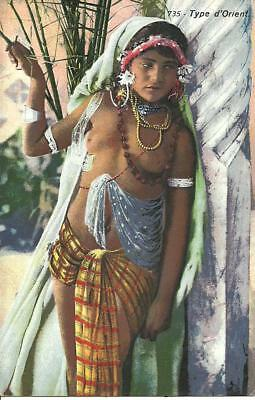 """ETHNIC - YOUNG NATIVE GIRL """"TYPE D'ORIENT"""" (COLOUR POSTCARD) c1930"""