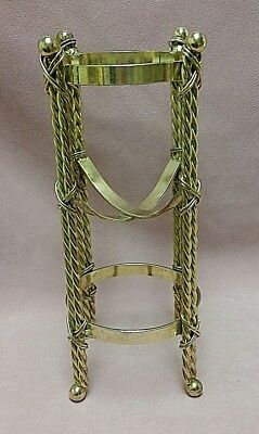 "10"" Brass Plated Vase Stand Four Twisted Rope Wire Wrapped Legs Ball Feet~Tops"
