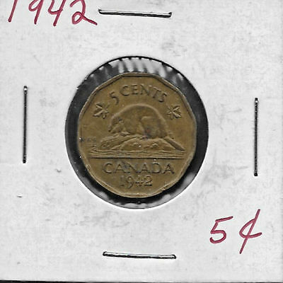 Tombac - 1942 - 5 cents Canadian nickel