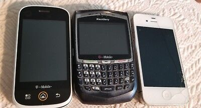 Vintage Lot Of 3 Assorted Used Cell Phones Motorola BlackBerry Apple For Parts