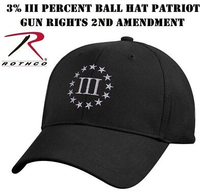 fc1f6dd5f661 BLACK 3 PERCENTER Cap 3% III Percent Ball Hat Patriot Gun Rights 2nd ...