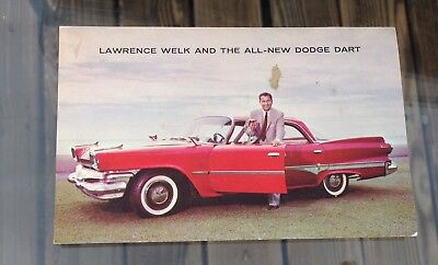 Vintage Advertising Dealer Red 1960 Dodge Dart Lawrence Welk Postcard Unused