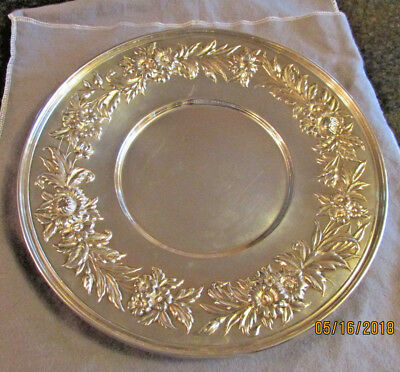 Antique S Kirk & Son Sterling Silver Repousse Plate 10""