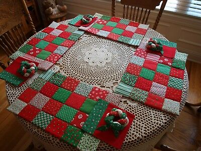 Handmade Christmas Calico Placemats, Napkins, And Napkin Rings Set