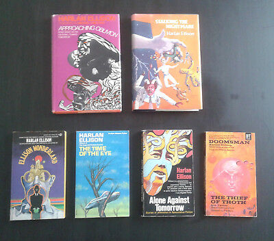 Lot of 6 vintage HARLAN ELLISON books   2 1st editions, 3 signed PB copies!