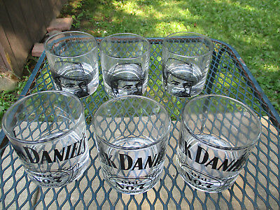 Set of 6 Jack Daniels Old No. 7 Tennessee Whiskey Whisky Portrait Rocks Glasses