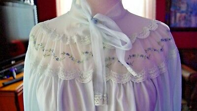 "Vtg 1950's-60's VAN RAALTE ""Myth"" Bed Jacket Soft Semi-Sheer Chiffon Blue Medium"