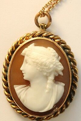 Vintage Antique Finely Hand Carved Shell Cameo Pendant Gold Filled Lady Necklace