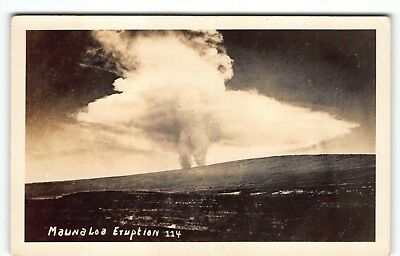 """PELE"" View Eruption at Mauna Loa Hawaii Real Photo Postcard RPPC"