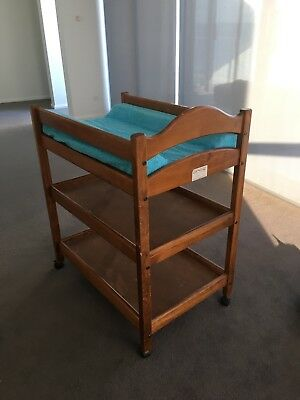 Solid timber baby change table, Groyears brand, very sturdy, on wheels.