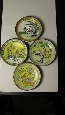 Antique chinese Qing Enamel Cloisonne Hand Painted woman flower plate