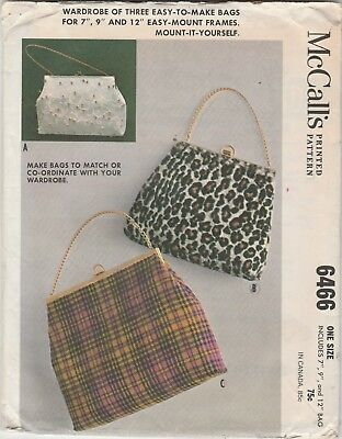 Vtg 1962 PATTERN for BAGS / PURSES for Purchased Frames UNCUT McCall's 6466