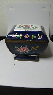 Antique chinese Qing Enamel Cloisonne Hand Painted flower box