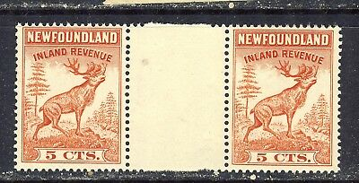 NEWFOUNDLAND INLAND REVENUE STAMPS #NFR46a 5¢ GUTTER PAIR F-VFNH