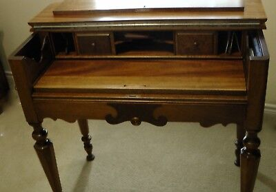 Small Antique Piano Style Writing Desk Walnut