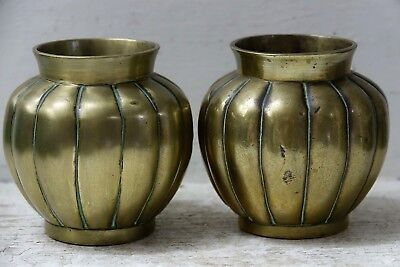 Pair Of Very Old Chinese Bronze Pumpkin Form Incense Censers With Seal Marks
