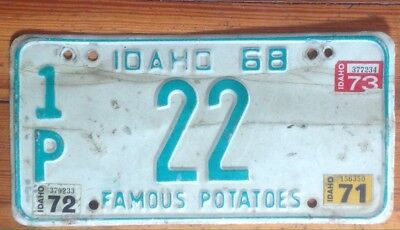 Idaho #22 license plate green on white all original  1968  ID '71-73 stickers