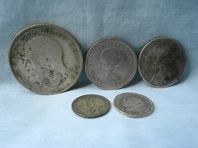 Lot of 5 Silver U.K. Britain Coins 1921 Halfcrown 1963 One Shilling 1930 25 Cent