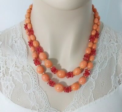 """Vintage Hong Kong Signed Plastic Beaded Necklace 20"""" C7-20"""