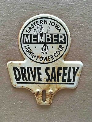 Old Eastern Iowa Light & Power License Plate Topper with Willie Wirehand Mascot