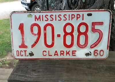Vintage 1960  Mississippi  Clarke  County License Plate # 190 - 885