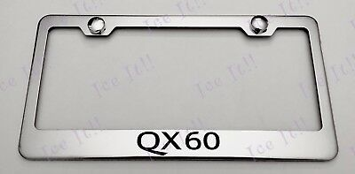 2X QX 80 Stainless Steel Metal Black License Plate Frame Rust Free Bolt Caps