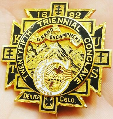 Scarce 1892 Denver Colorado Knights Templar Triennial Conclave Medal Badge Pin