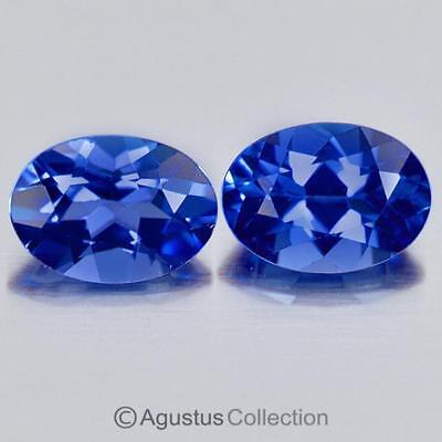 1.02cts Pair TANZANITE Violet Blue Oval Faceted Clean Natural Gemstones Tanzania