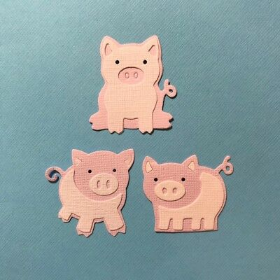 3 Little Pigs Die Cut Embellishment Scrapbooking Fully Assembled Rare Shape Farm