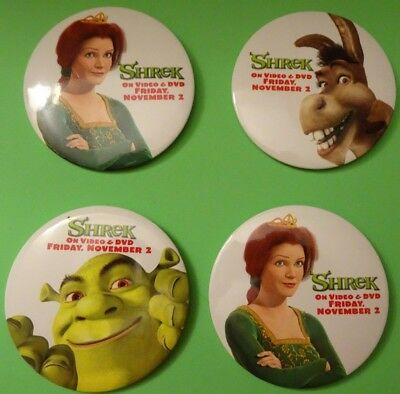 "Shrek Movie Lot Of 4 Button Pinbacks,all In Good Or Better Condition,3"" Round"