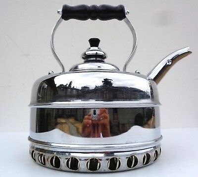 Simplex Whistling Tea Kettle Buckingham Chrome Plated Copper England 4 Gas Stove