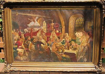 "Antique 19 Century Russian  Painting "" Russian Wedding"" Oil On Canvas, Large"