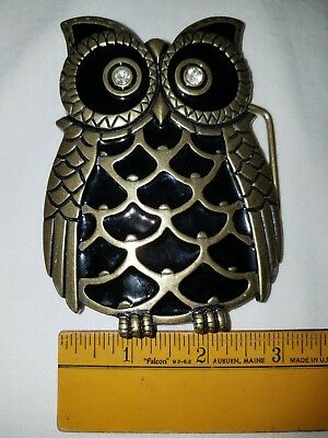 VINTAGE OWL CUT-OUT BRASS BELT BUCKLE Large w/Enamel Feathers and Stone eyes
